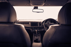 Closeup interior modern car console with full windscreen show sp Royalty Free Stock Images