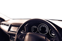 Closeup interior modern car console with full windscreen show sp Royalty Free Stock Photos