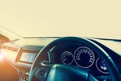 Closeup interior modern car console with full windscreen show sp Royalty Free Stock Image