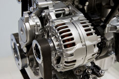 Closeup of an internal combustion engine. Closeup showing details of a car modern internal combustion engine stock image