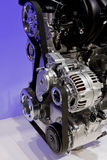 Closeup of an internal combustion engine. Closeup showing details of a car modern internal combustion engine stock photo