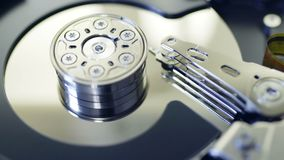 Internals of SATA hard disk drive stock footage