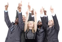 Closeup.international business team showing up at copy space. Concept of teamwork Stock Photos