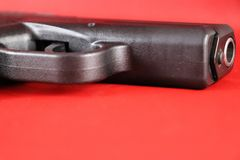 Closeup of isolated conceal carry pistol trigger guard and barrel Royalty Free Stock Images