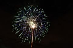 Closeup of isolated fireworks for compositing. Into your art Royalty Free Stock Photography