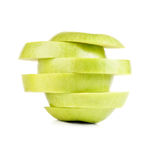 Closeup Isolated Sliced Green Apple Stock Image