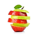 Closeup Isolated Sliced Green And Red Apple Stock Photo