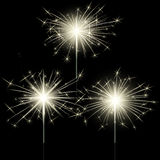 Closeup isolated sparkler shine bengal lights for holiday decor Stock Images