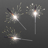 Closeup isolated sparkler shine bengal lights for holiday decor Stock Image