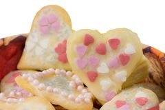 Isolated Sweet Christmas Cookies in heart shape. Closeup of isolated sweet Christmas Cookies in heart shape Stock Photography