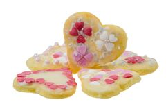 Isolated Sweet Christmas Cookies in heart shape. Closeup of isolated sweet Christmas Cookies in heart shape Royalty Free Stock Photos