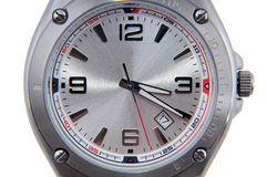 closeup isolerad för watchwhite för man s wrist fotografering för bildbyråer