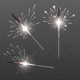 Closeup isolerade tomteblossskenbengal ljus för feriedekor Fotografering för Bildbyråer