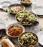Closeup of Italian food dinner stock photography