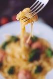 Closeup italian pasta  on the wooden table Stock Image