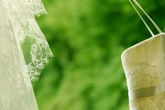 Closeup of an ivory wedding dress and a wedding veil. Hanging against natural green background Royalty Free Stock Image
