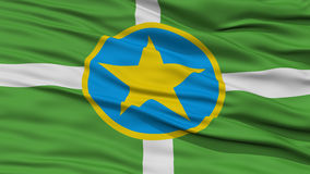 Closeup Jackson Flag. Capital of Mississippi State, Flying in the Wind Stock Photography