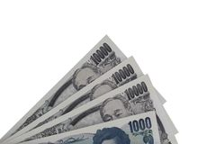 Closeup of Japanese currency yen bank notes royalty free stock image