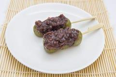 Closeup Japanese dessert Mitarashi Dango Royalty Free Stock Photo