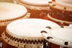 Closeup Japanese drums arrangement during a street festival. Traditional Japanese Taiko Drum Stock Image