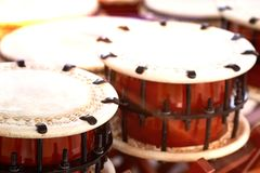 Closeup Japanese drums arrangement during a street festival. Traditional Japanese Taiko Drum Royalty Free Stock Photo