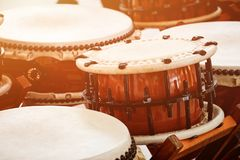 Closeup Japanese drums arrangement during a street festival. Traditional Japanese Taiko Drum Royalty Free Stock Photos