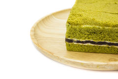 Closeup Japanese Matcha green tea cake cheesecake Stock Image