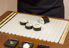 Closeup of japanese sushi rolls with rice Royalty Free Stock Photo