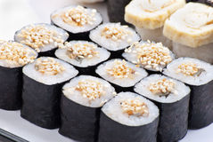 Closeup japanese sushi on a white plate. Sushi set Royalty Free Stock Image