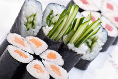 Closeup japanese sushi on a white plate. Sushi set Stock Photo