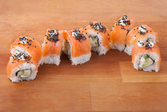 Closeup japanese sushi on wooden plate Royalty Free Stock Image