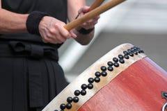 Closeup of a Japanese Taiko Drummer Royalty Free Stock Photos