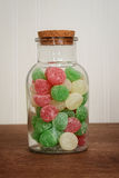 Closeup jar of christmas gum drops candy Royalty Free Stock Photo
