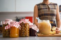 Closeup on jar with homemade apple jam Stock Photography