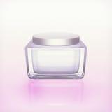 Closeup of jar of moisturizing face cream. Royalty Free Stock Photos