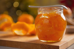 Closeup on jar with orange jam Stock Image