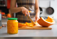 Closeup on jar of pickled pumpkin on table Stock Images