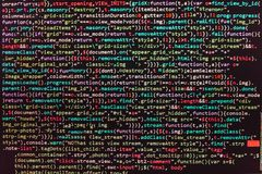 Closeup of Java Script, CSS and HTML code. Freeware open source project. Software development royalty free stock photo