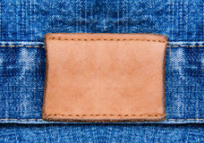 Closeup jeans leather label Royalty Free Stock Photo