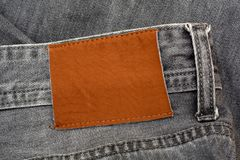 Closeup of Jeans Pent Leather Tag with copy space.  Royalty Free Stock Photography