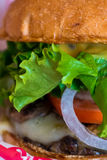 Closeup of juicy burger and fixings Royalty Free Stock Photography