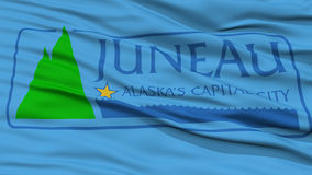 Closeup of Juneau City Flag. Waving in the Wind, Alaska State, United States of America Stock Photography