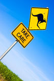 Closeup of kangaroo road  sign Royalty Free Stock Images