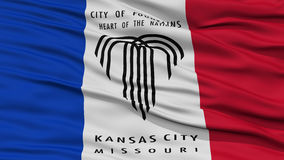 Closeup of Kansas City Flag. Waving in the Wind, Missouri State, United States of America Stock Images