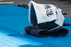 Closeup of Kendo Fighter's Traditional Clothes: Handkerchief, Gl royalty free stock images