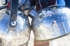 Closeup of Kettles Across Teakettle Junction in Death Valley in Royalty Free Stock Image
