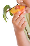 Closeup of kid eating a half peach Stock Images