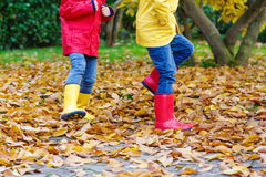 Closeup of kids legs in rubber boots dancing and walking through fall leaves. Two little children playing in red and yellow rubber boots in autumn park in Stock Image
