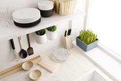 Closeup of kitchen room design. 3d rendering Stock Photos