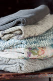 Closeup of knitted clothes stacked Royalty Free Stock Photo